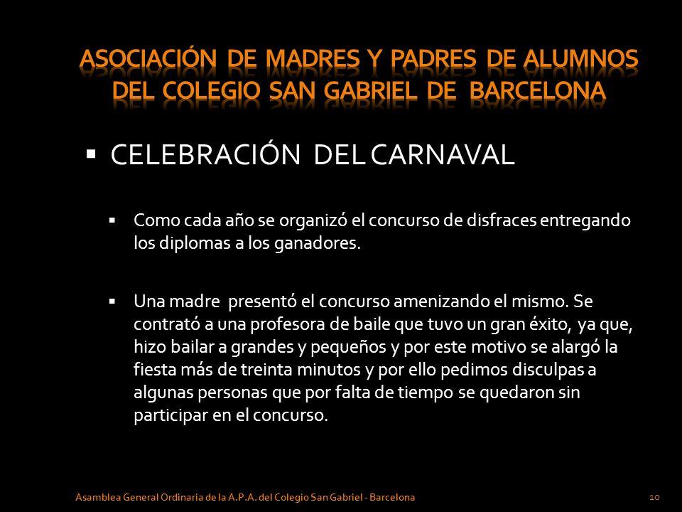 CELEBRACIÓN DEL CARNAVAL Como cada año se organizó el concurso de disfraces entregando los diplomas a los ganadores. Una madre presentó el concurso am