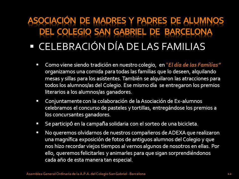 CELEBRACIÓN DÍA DE LAS FAMILIAS Asamblea General Ordinaria de la A.P.A. del Colegio San Gabriel - Barcelona 12 Como viene siendo tradición en nuestro