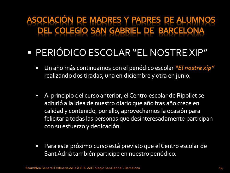 PERIÓDICO ESCOLAR EL NOSTRE XIP Asamblea General Ordinaria de la A.P.A. del Colegio San Gabriel - Barcelona 14 Un año más continuamos con el periódico