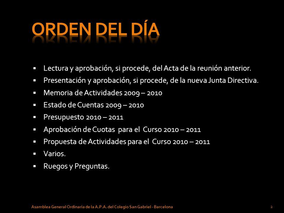 CELEBRACIÓN DE FIN DE CURSO Asamblea General Ordinaria de la A.P.A.