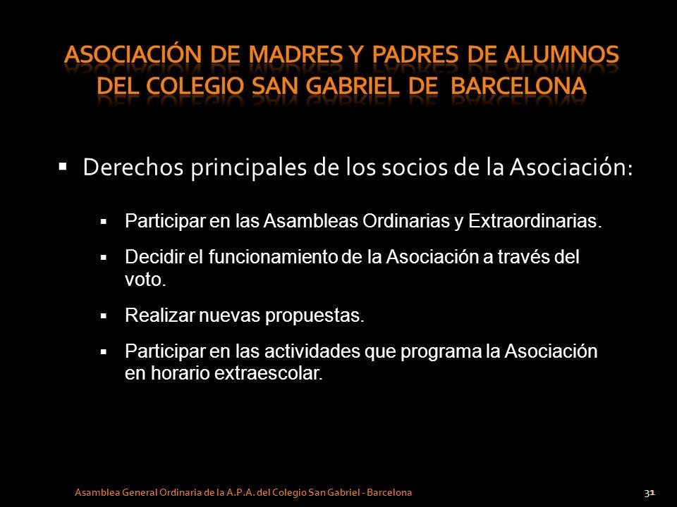 31 Asamblea General Ordinaria de la A.P.A. del Colegio San Gabriel - Barcelona Derechos principales de los socios de la Asociación: Participar en las