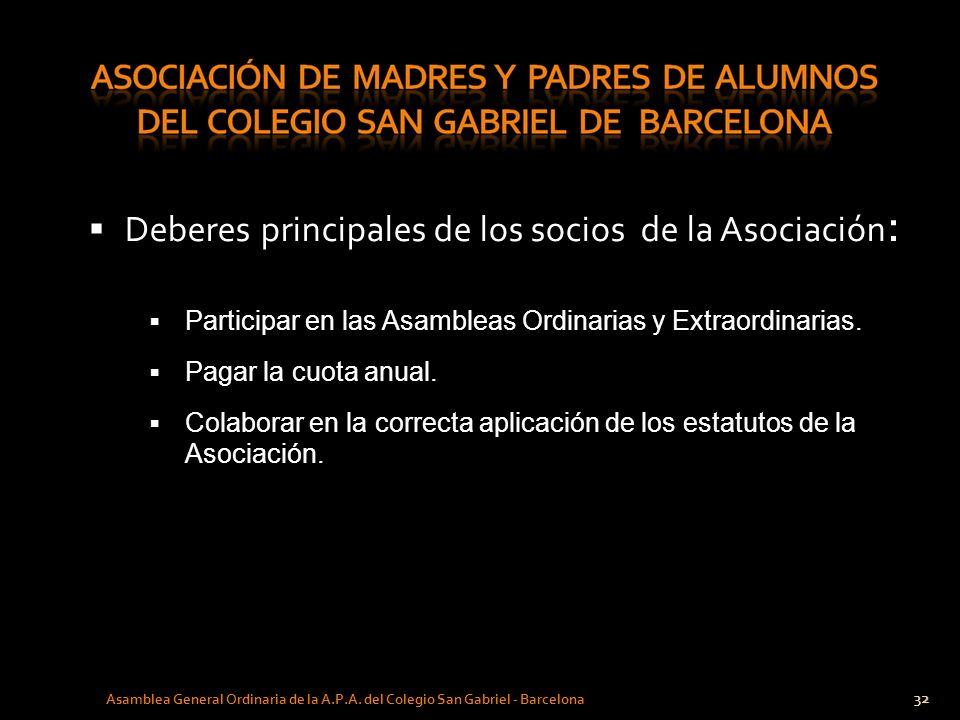 32 Asamblea General Ordinaria de la A.P.A. del Colegio San Gabriel - Barcelona Deberes principales de los socios de la Asociación : Participar en las