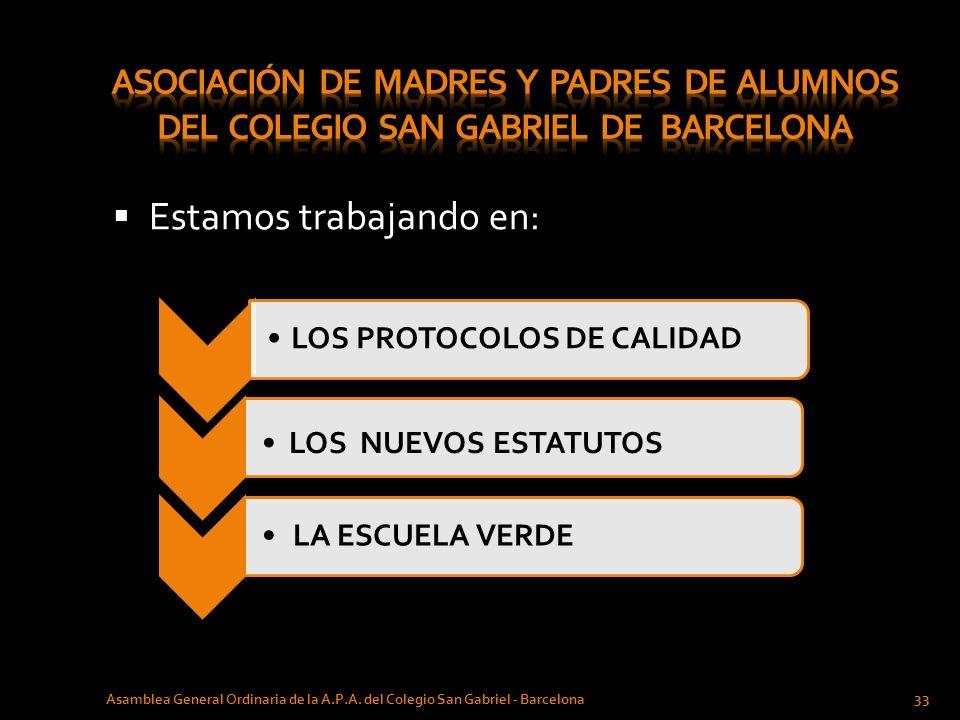 Estamos trabajando en: Asamblea General Ordinaria de la A.P.A. del Colegio San Gabriel - Barcelona 33 LOS PROTOCOLOS DE CALIDAD LOS NUEVOS ESTATUTOS L