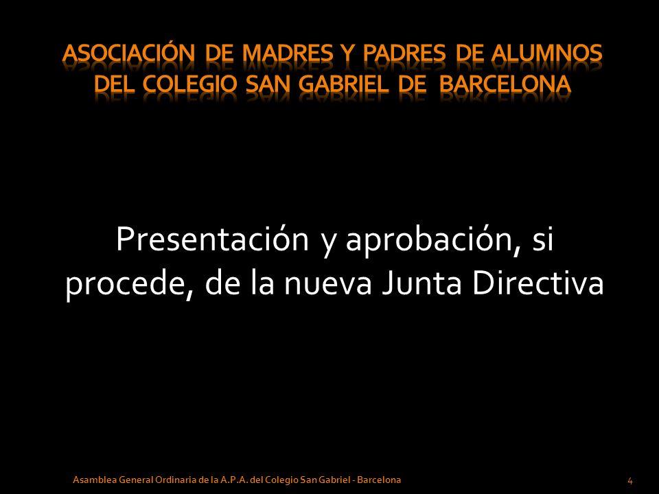 Presentación y aprobación, si procede, de la nueva Junta Directiva 4 Asamblea General Ordinaria de la A.P.A. del Colegio San Gabriel - Barcelona
