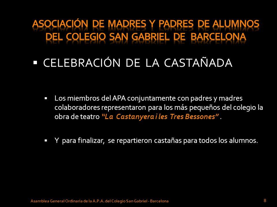 CELEBRACIÓN DE LA CASTAÑADA Asamblea General Ordinaria de la A.P.A. del Colegio San Gabriel - Barcelona 8 Los miembros del APA conjuntamente con padre
