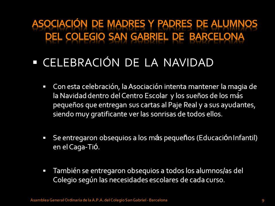CELEBRACIÓN DE LA NAVIDAD Asamblea General Ordinaria de la A.P.A. del Colegio San Gabriel - Barcelona 9 Con esta celebración, la Asociación intenta ma