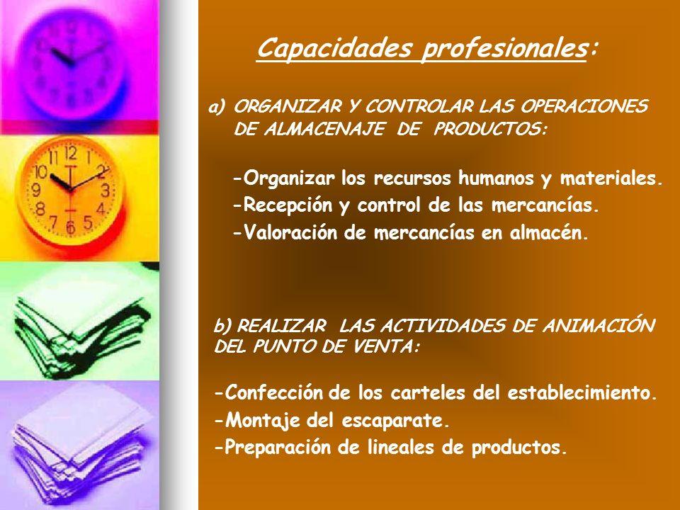 a)ORGANIZAR Y CONTROLAR LAS OPERACIONES DE ALMACENAJE DE PRODUCTOS: -Organizar los recursos humanos y materiales. -Recepción y control de las mercancí