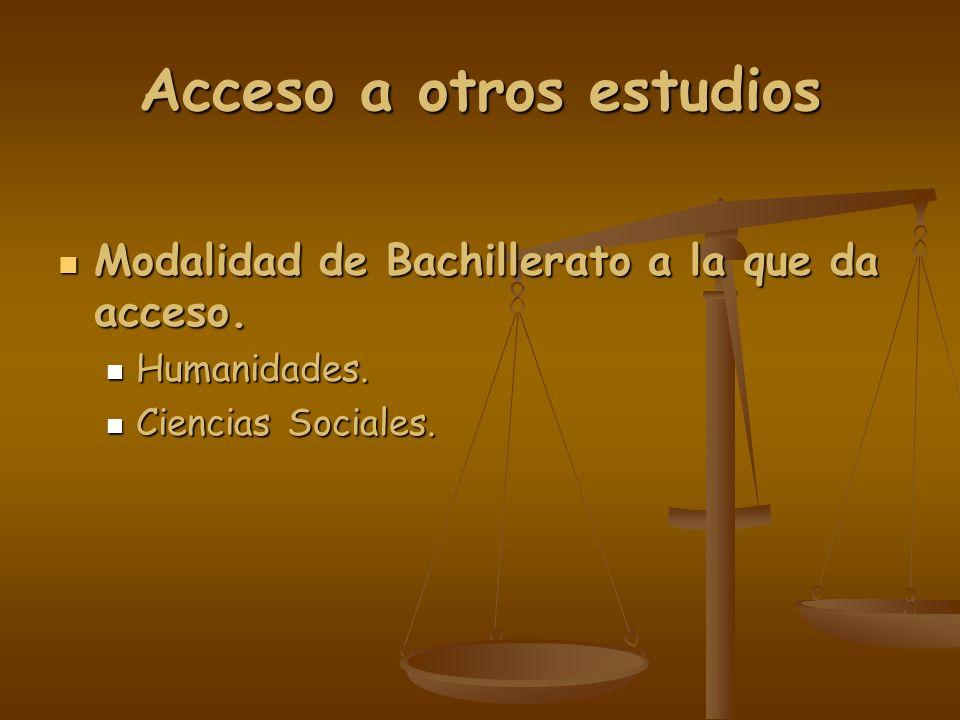 Acceso a otros estudios Modalidad de Bachillerato a la que da acceso. Modalidad de Bachillerato a la que da acceso. Humanidades. Humanidades. Ciencias