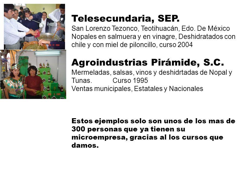Telesecundaria, SEP. San Lorenzo Tezonco, Teotihuacán, Edo. De México Nopales en salmuera y en vinagre, Deshidratados con chile y con miel de piloncil