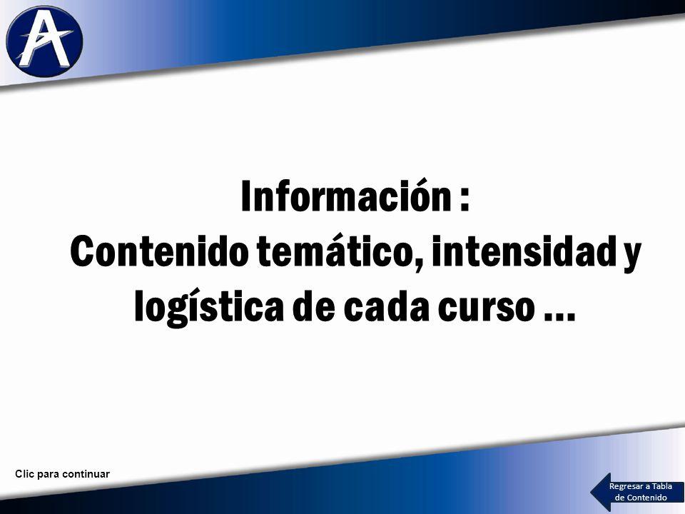 Información : Contenido temático, intensidad y logística de cada curso … Regresar a Tabla de Contenido Clic para continuar