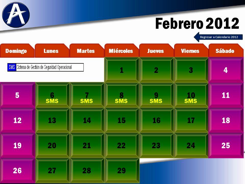 Febrero 2012 678910511 13141516171218 20212223241925 272826 MartesLunesDomingoViernesJuevesMiércolesSábado 1234 29 SMS Regresar a Calendario 2012