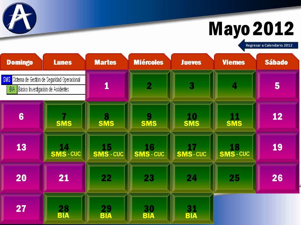 Mayo 2012 7891011612 14151617181319 21222324252026 2827 MartesLunesDomingoViernesJuevesMiércolesSábado 2345 293031 SMS BIA 1 Regresar a Calendario 2012 - CUC