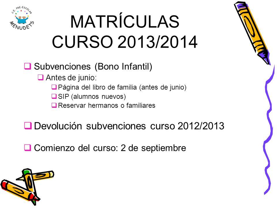 MATRÍCULAS CURSO 2013/2014 Subvenciones (Bono Infantil) Antes de junio: Página del libro de familia (antes de junio) SIP (alumnos nuevos) Reservar her