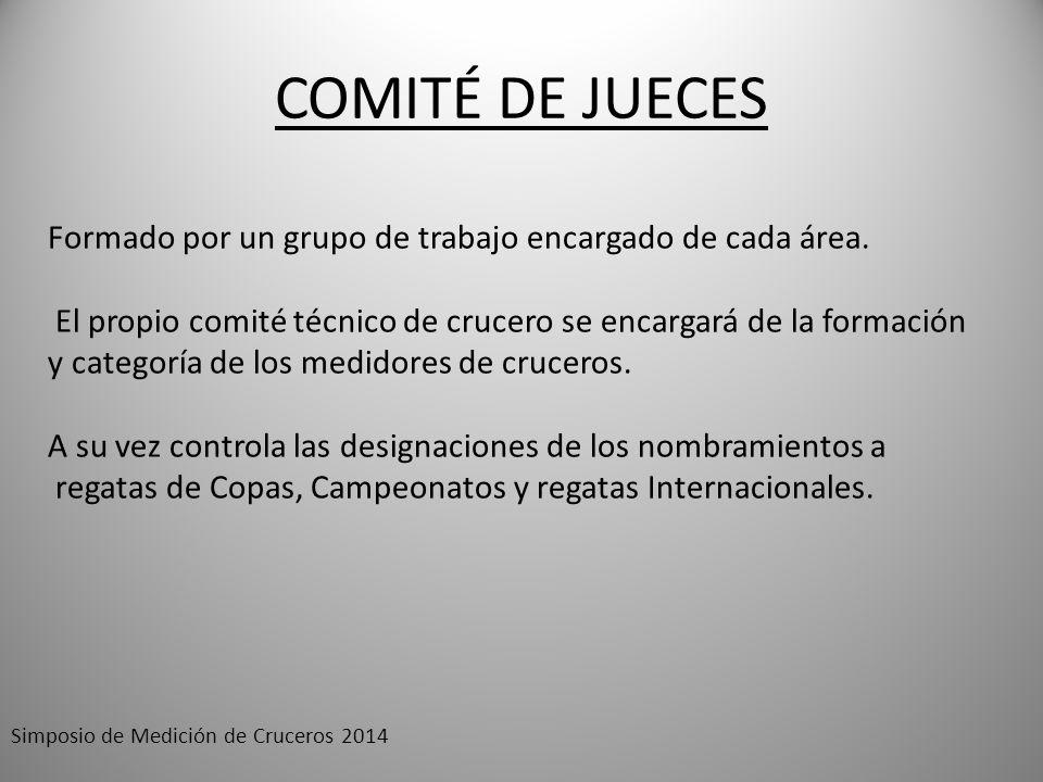 COMITÉ DE JUECES Formado por un grupo de trabajo encargado de cada área. El propio comité técnico de crucero se encargará de la formación y categoría