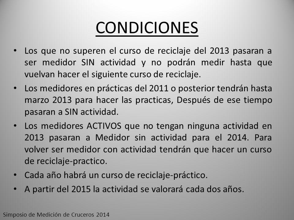 CONDICIONES Los que no superen el curso de reciclaje del 2013 pasaran a ser medidor SIN actividad y no podrán medir hasta que vuelvan hacer el siguien