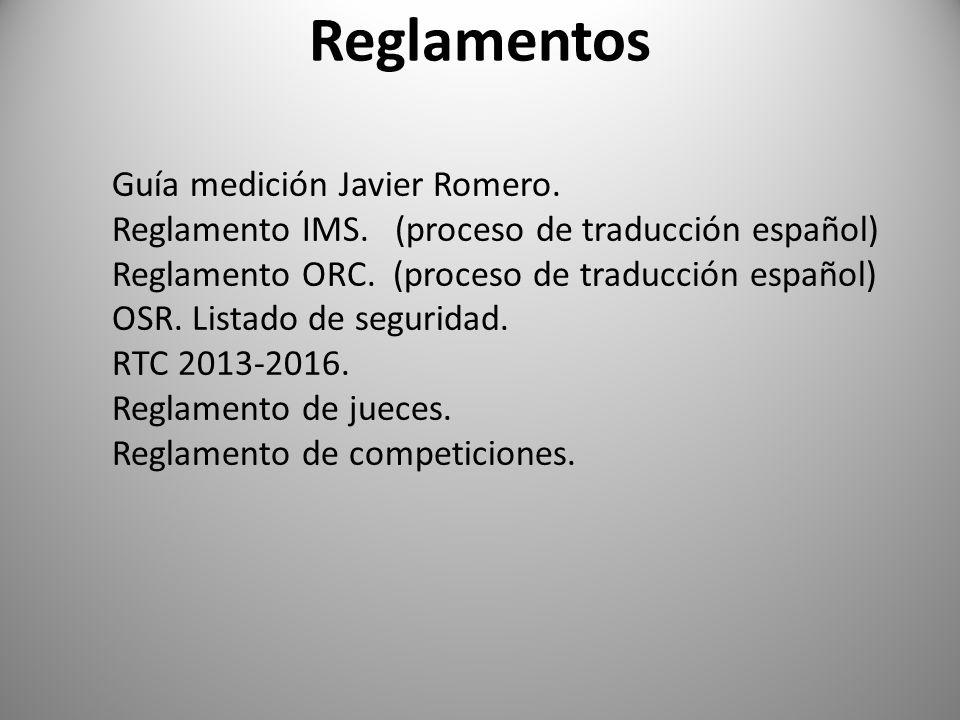 Reglamentos Guía medición Javier Romero. Reglamento IMS. (proceso de traducción español) Reglamento ORC. (proceso de traducción español) OSR. Listado