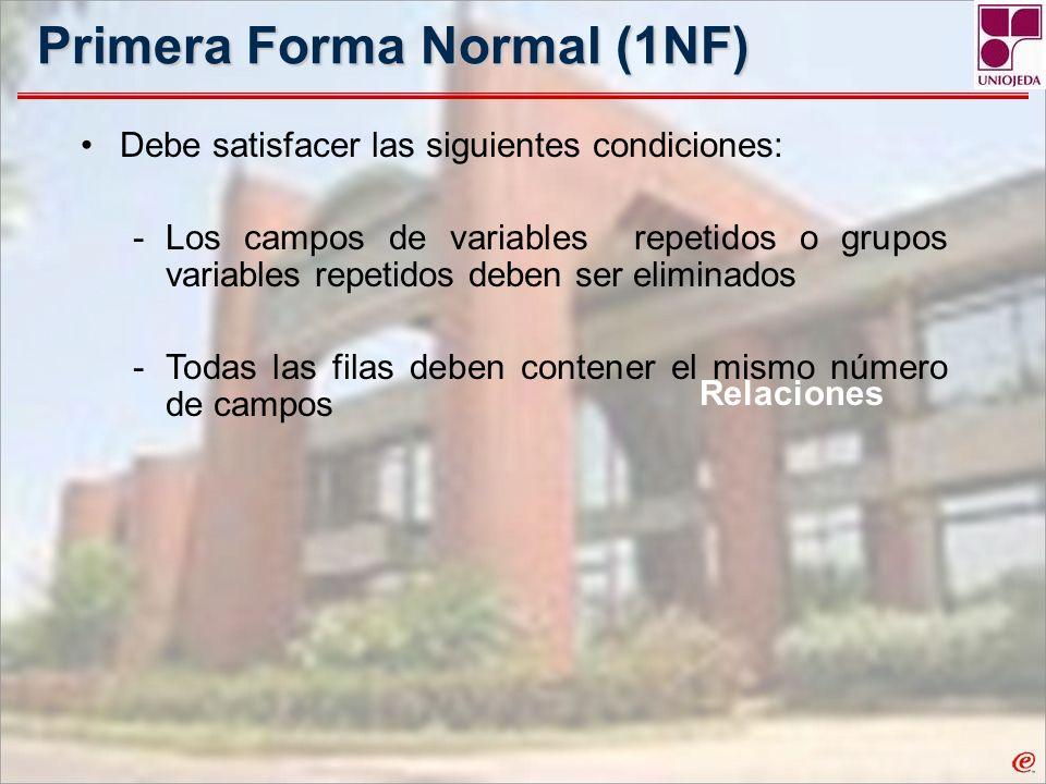Primera Forma Normal (1NF) Relaciones Debe satisfacer las siguientes condiciones: -Los campos de variables repetidos o grupos variables repetidos debe
