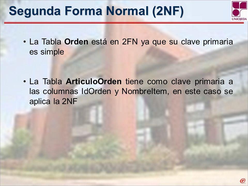 Segunda Forma Normal (2NF) La Tabla Orden está en 2FN ya que su clave primaria es simple La Tabla ArticuloOrden tiene como clave primaria a las column