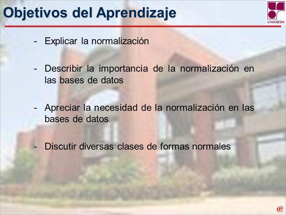 Objetivos del Aprendizaje -Explicar la normalización -Describir la importancia de la normalización en las bases de datos -Apreciar la necesidad de la