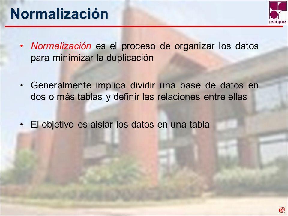 Normalización Normalización es el proceso de organizar los datos para minimizar la duplicación Generalmente implica dividir una base de datos en dos o
