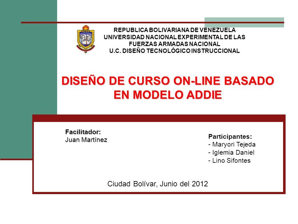 DISEÑO DE CURSO ON-LINE BASADO EN MODELO ADDIE REPUBLICA BOLIVARIANA DE VENEZUELA UNIVERSIDAD NACIONAL EXPERIMENTAL DE LAS FUERZAS ARMADAS NACIONAL U.