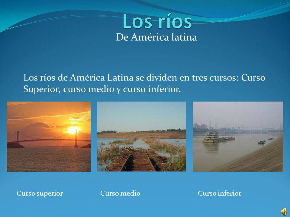 De América latina Los ríos de América Latina se dividen en tres cursos: Curso Superior, curso medio y curso inferior. Curso superiorCurso medioCurso i