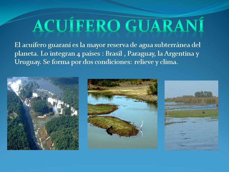 El acuífero guaraní es la mayor reserva de agua subterránea del planeta. Lo integran 4 países : Brasil, Paraguay, la Argentina y Uruguay. Se forma por