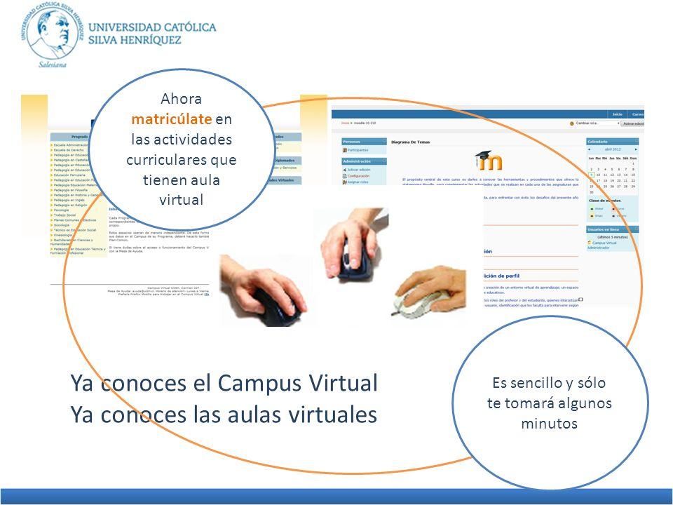 Ya conoces el Campus Virtual Ya conoces las aulas virtuales Ahora matricúlate en las actividades curriculares que tienen aula virtual Es sencillo y só