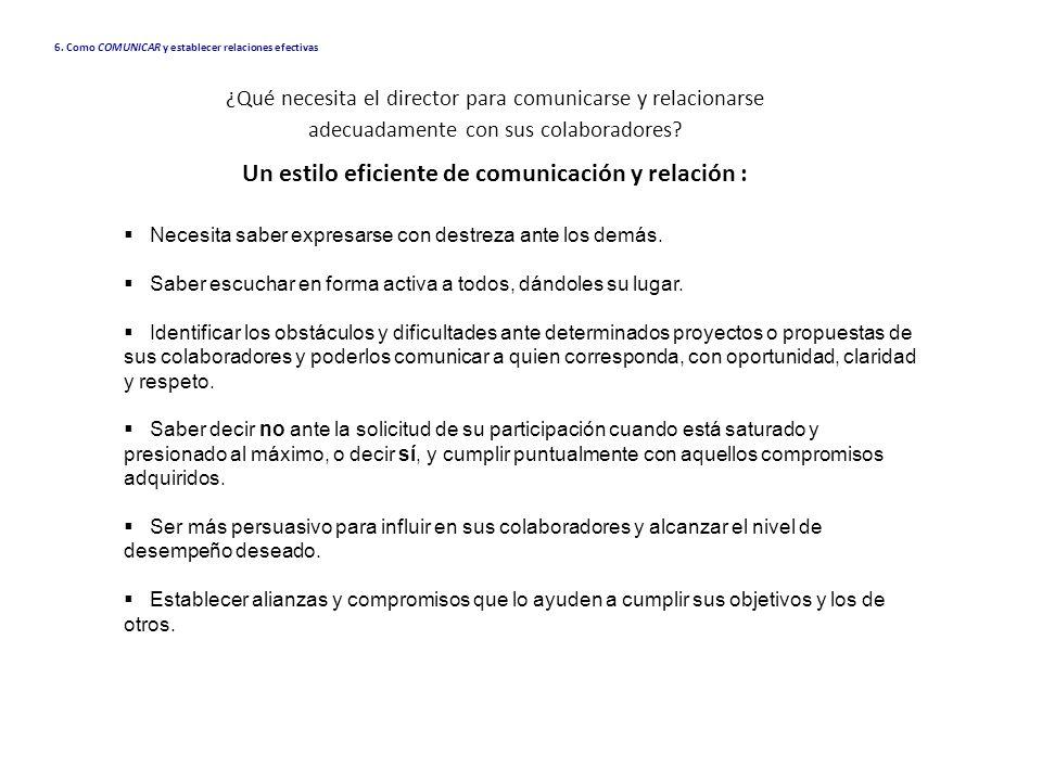 6. Como COMUNICAR y establecer relaciones efectivas Necesita saber expresarse con destreza ante los demás. Saber escuchar en forma activa a todos, dán
