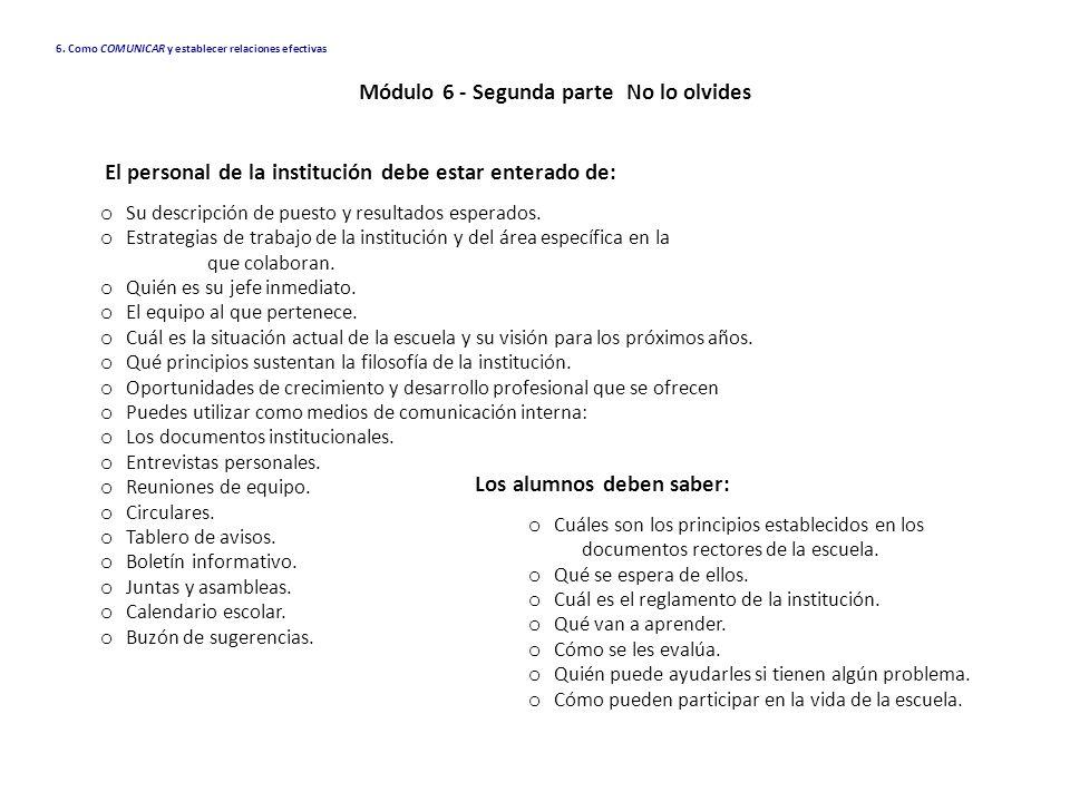 Módulo 6 - Segunda parte No lo olvides Los alumnos deben saber: o Cuáles son los principios establecidos en los documentos rectores de la escuela. o Q