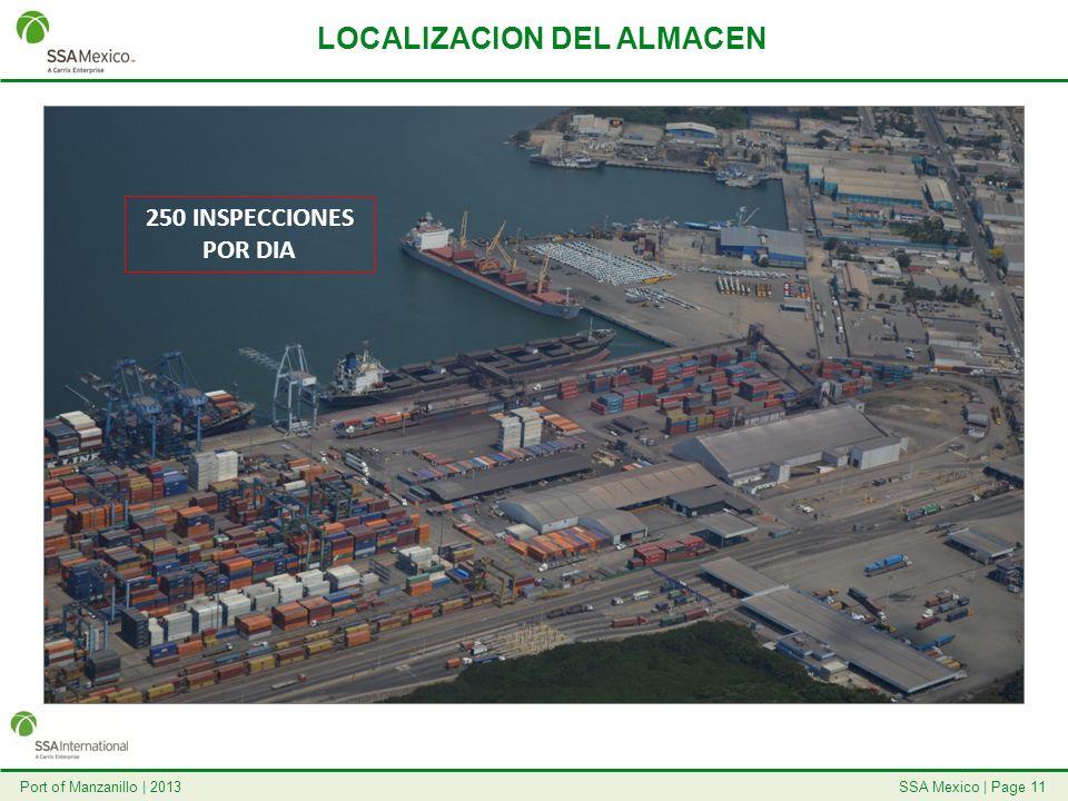SSA Mexico   Page 11Port of Manzanillo   2013 LOCALIZACION DEL ALMACEN 250 INSPECCIONES POR DIA