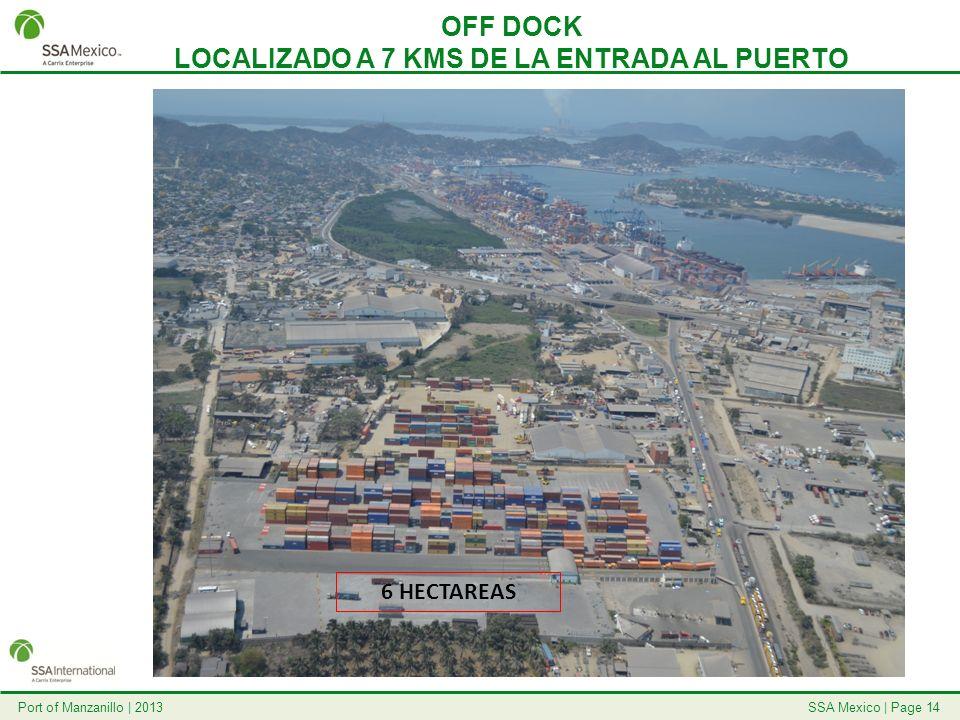 SSA Mexico   Page 14Port of Manzanillo   2013 OFF DOCK LOCALIZADO A 7 KMS DE LA ENTRADA AL PUERTO 6 HECTAREAS