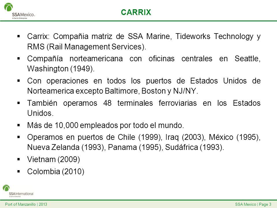SSA Mexico | Page 4Port of Manzanillo | 2013 SSA MEXICO 1995: inicio de operaciones.