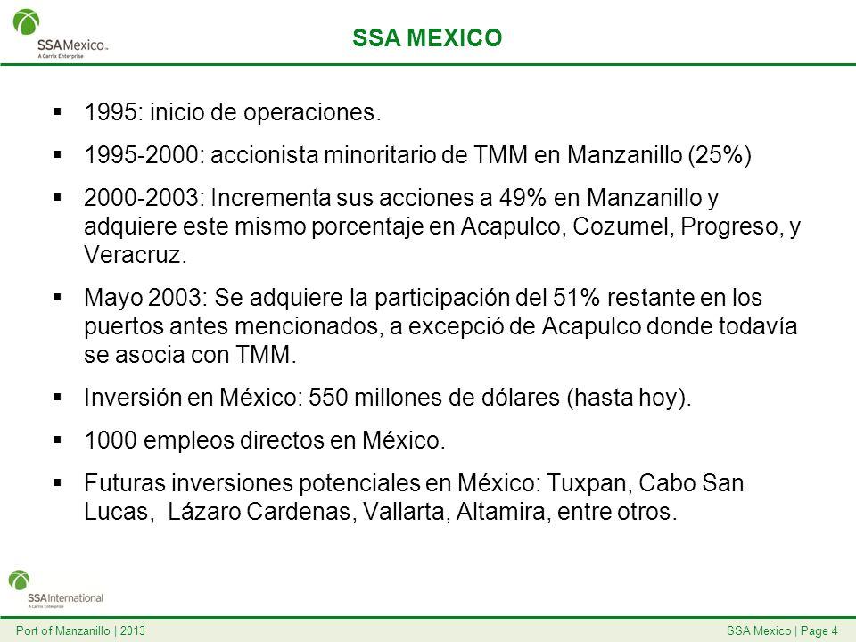 SSA Mexico   Page 4Port of Manzanillo   2013 SSA MEXICO 1995: inicio de operaciones. 1995-2000: accionista minoritario de TMM en Manzanillo (25%) 2000