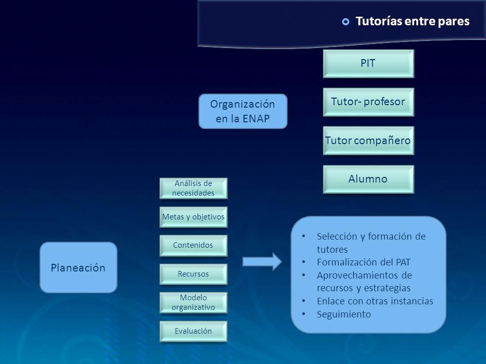 Tutorías entre pares PIT Tutor- profesor Tutor compañero Alumno Análisis de necesidades Metas y objetivos Contenidos Recursos Modelo organizativo Eval