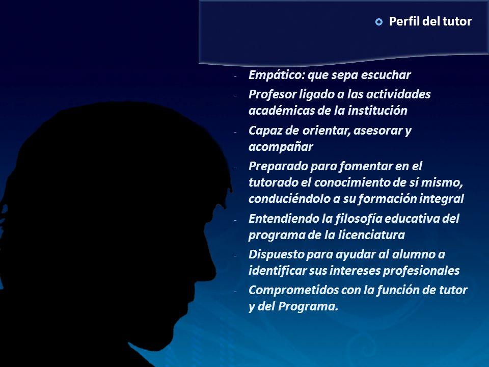 Perfil del tutor - Empático: que sepa escuchar - Profesor ligado a las actividades académicas de la institución - Capaz de orientar, asesorar y acompa