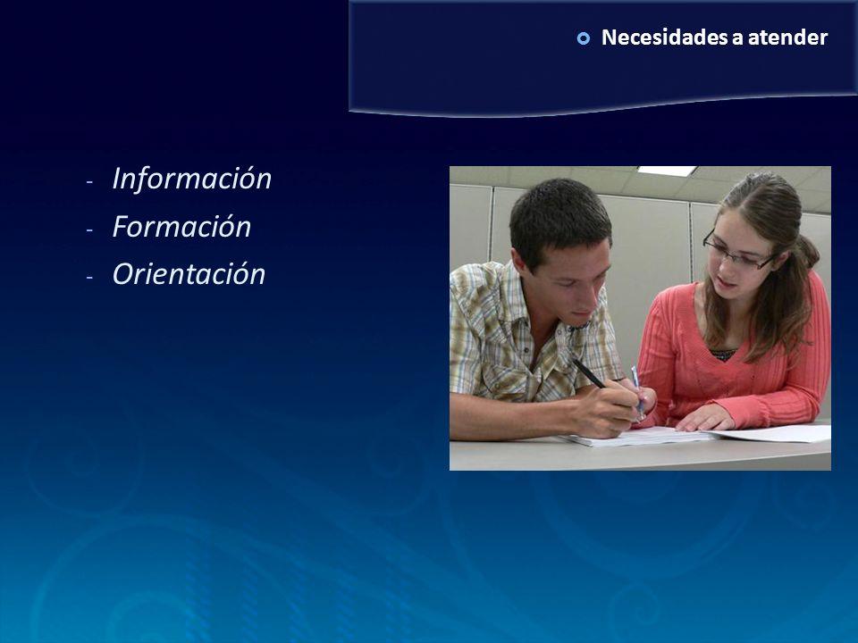 Necesidades a atender - Información - Formación - Orientación
