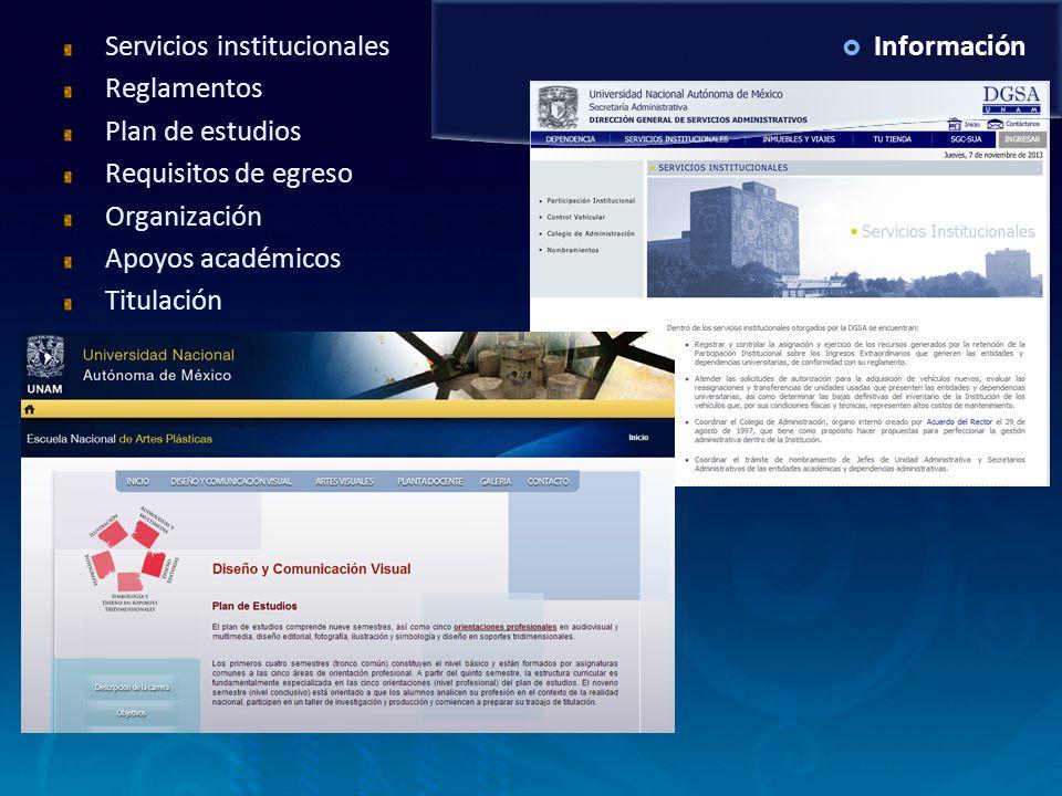 InformaciónServicios institucionales Reglamentos Plan de estudios Requisitos de egreso Organización Apoyos académicos Titulación