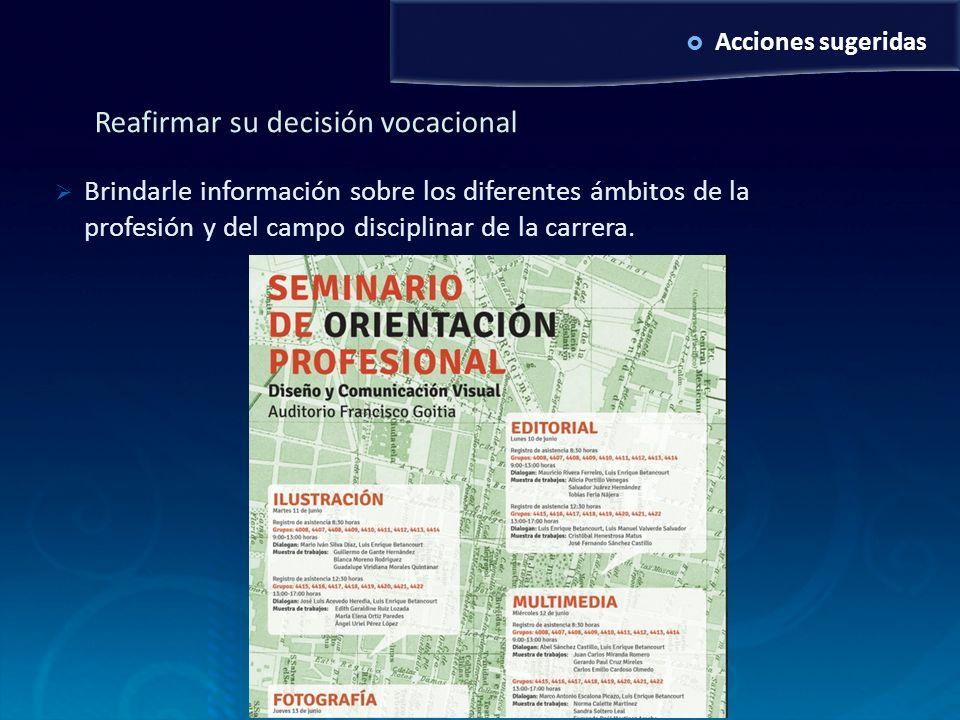 Acciones sugeridas Reafirmar su decisión vocacional Brindarle información sobre los diferentes ámbitos de la profesión y del campo disciplinar de la c