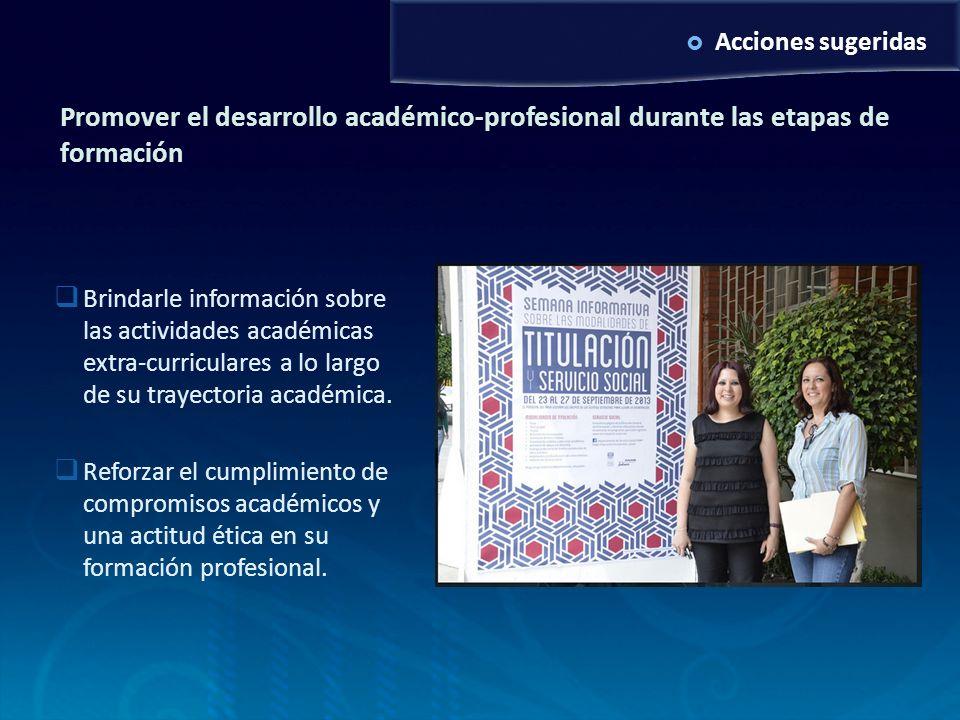 Acciones sugeridas Promover el desarrollo académico-profesional durante las etapas de formación Brindarle información sobre las actividades académicas