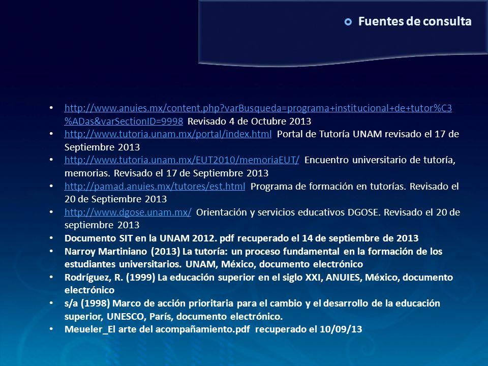 Fuentes de consulta http://www.anuies.mx/content.php?varBusqueda=programa+institucional+de+tutor%C3 %ADas&varSectionID=9998 Revisado 4 de Octubre 2013
