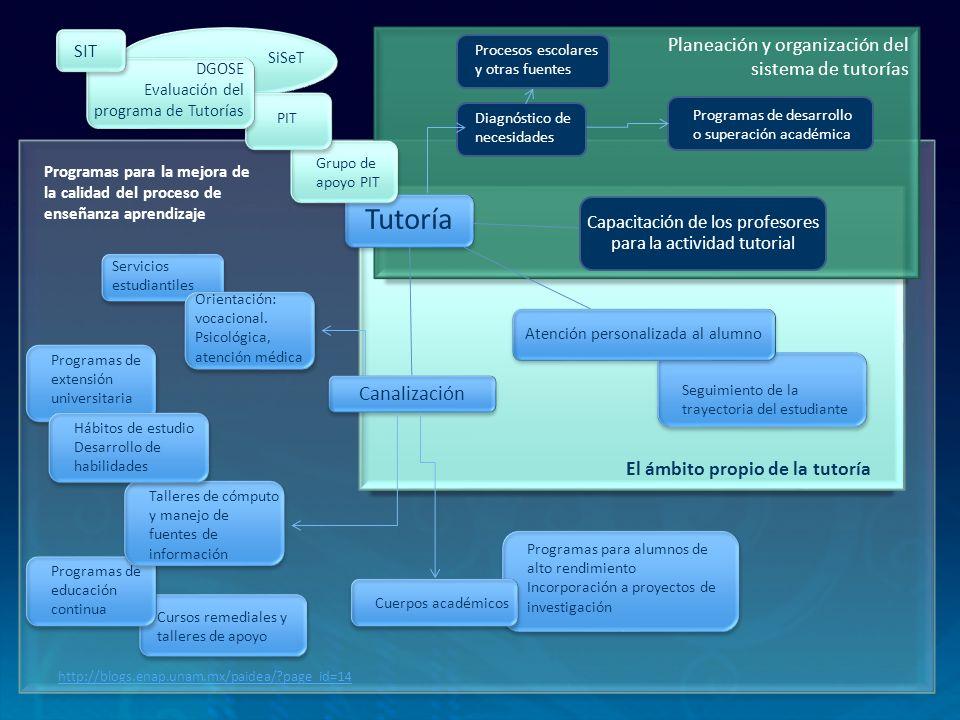 PAT Define y organiza los propósitos, procesos, acciones, y operaciones que realizan los actores centrales de la tutoría y todos lo implicados en su desarrollo (autoridades, funcionarios, académicos y personal administrativo) PIT: Programa Institucional de Tutorías