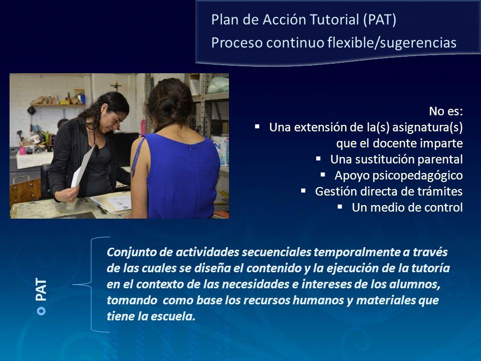 PAT Conjunto de actividades secuenciales temporalmente a través de las cuales se diseña el contenido y la ejecución de la tutoría en el contexto de la