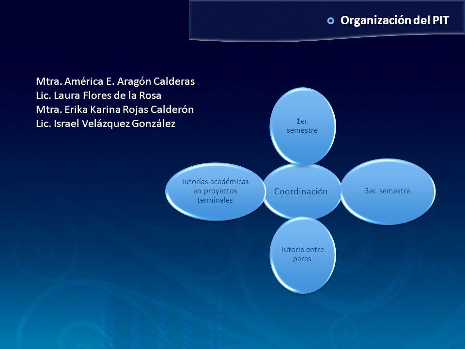 Organización del PIT Coordinación 1er. semestre 3er. semestre Tutoría entre pares Tutorías académicas en proyectos terminales Mtra. América E. Aragón