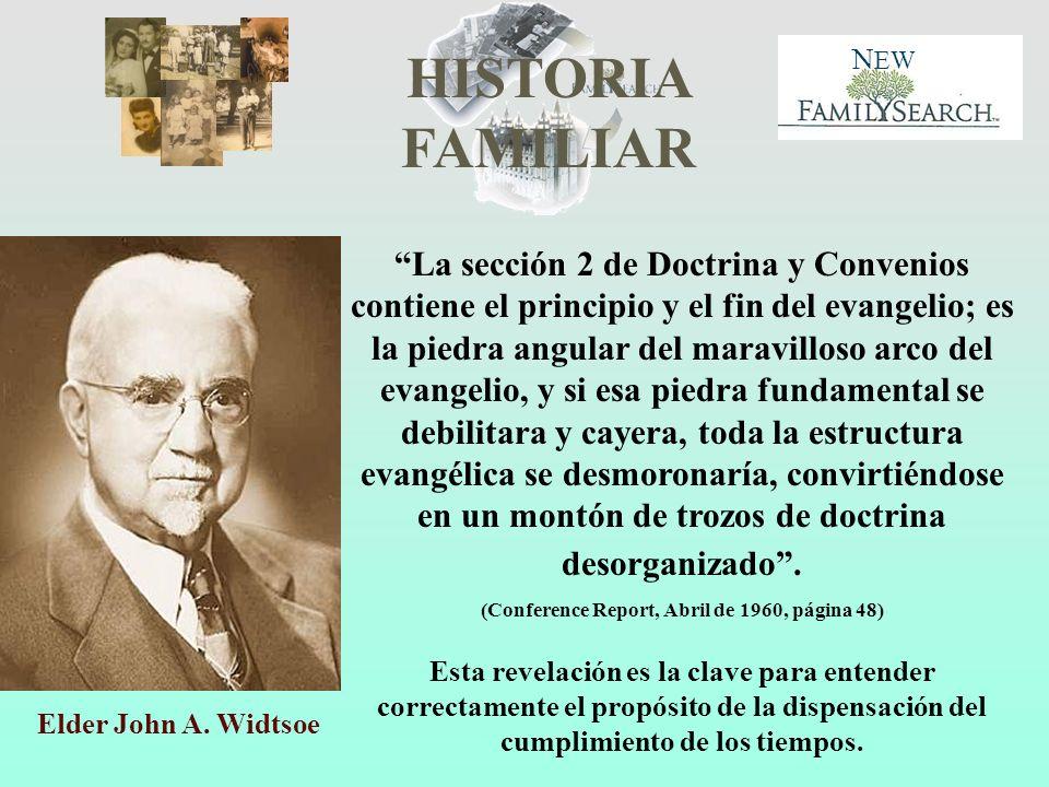 HISTORIA FAMILIAR N EW La sección 2 de Doctrina y Convenios contiene el principio y el fin del evangelio; es la piedra angular del maravilloso arco de