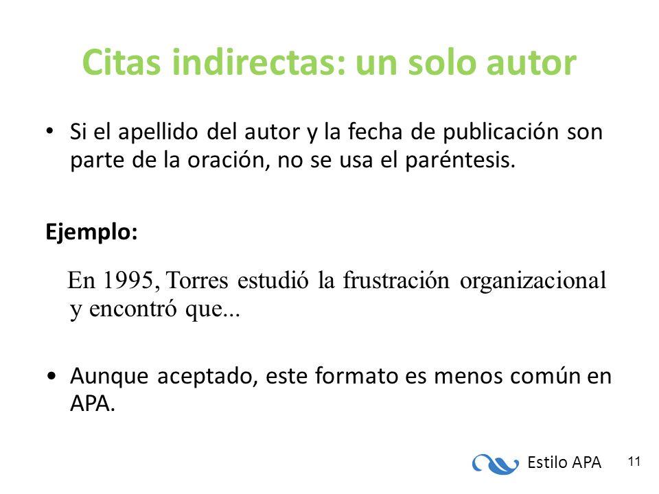 Estilo APA 11 Citas indirectas: un solo autor Si el apellido del autor y la fecha de publicación son parte de la oración, no se usa el paréntesis. Eje