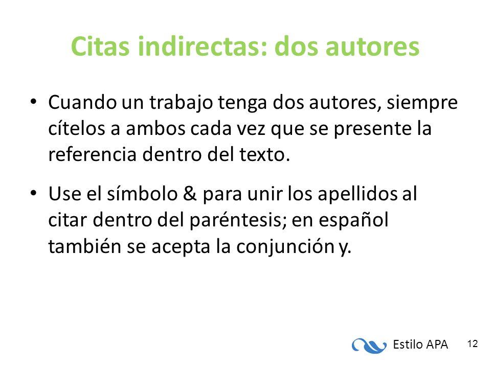 Estilo APA 12 Citas indirectas: dos autores Cuando un trabajo tenga dos autores, siempre cítelos a ambos cada vez que se presente la referencia dentro
