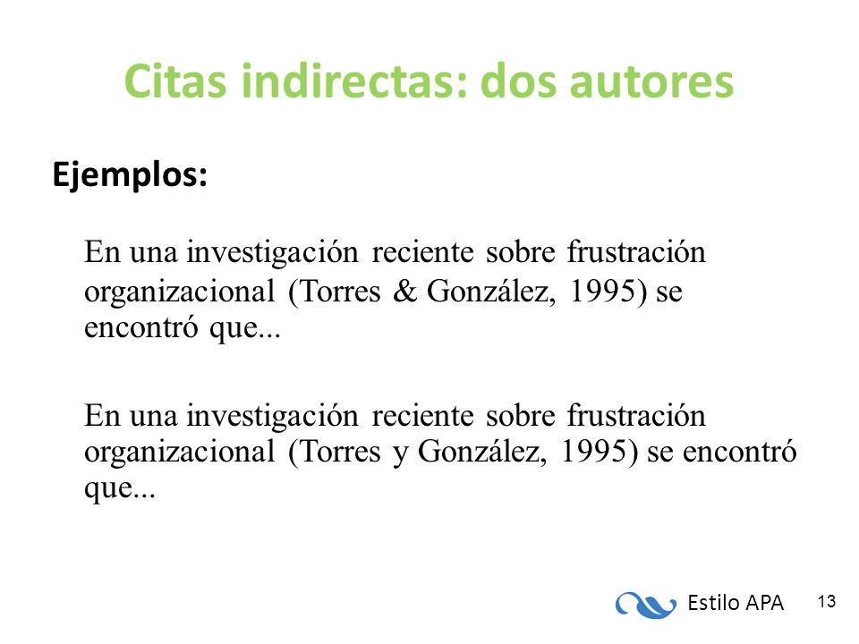 Estilo APA 13 Citas indirectas: dos autores Ejemplos: En una investigación reciente sobre frustración organizacional (Torres & González, 1995) se enco