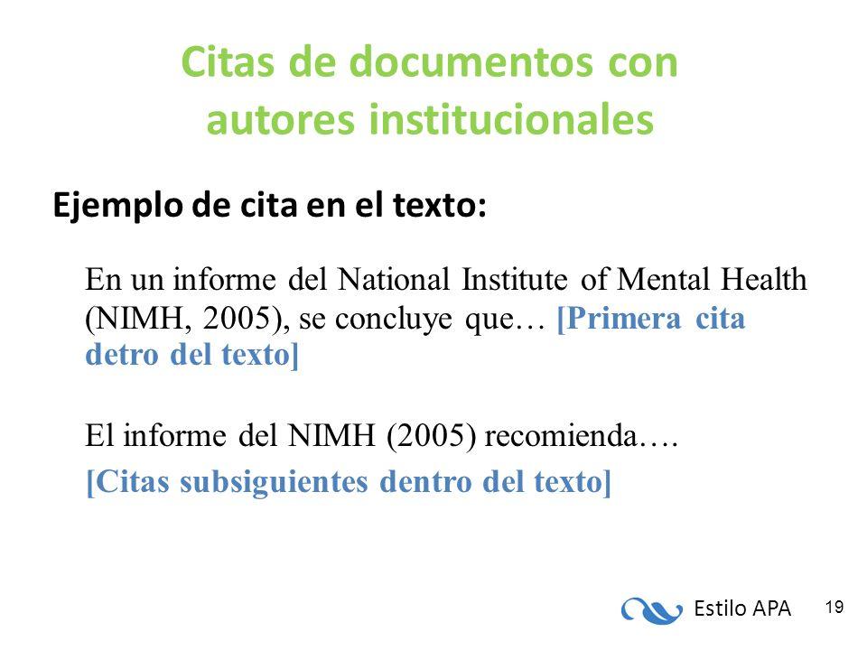 Estilo APA 19 Citas de documentos con autores institucionales Ejemplo de cita en el texto: En un informe del National Institute of Mental Health (NIMH