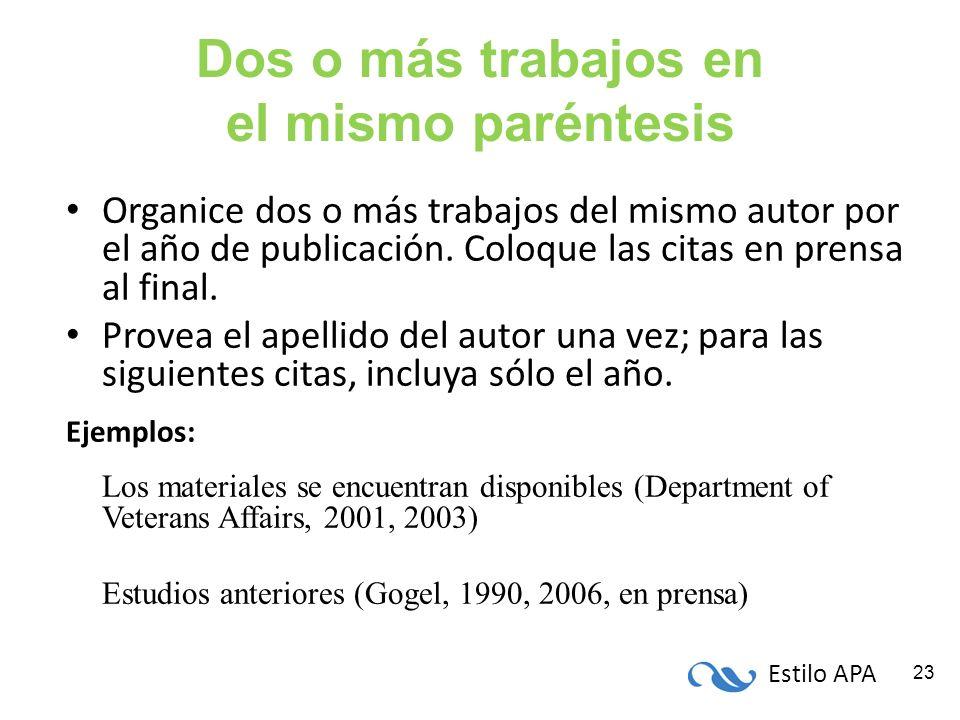 Estilo APA 23 Dos o más trabajos en el mismo paréntesis Organice dos o más trabajos del mismo autor por el año de publicación. Coloque las citas en pr